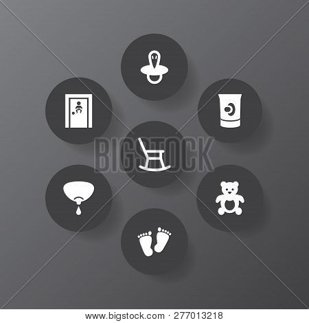 Set Of 7 Baby Icons Set. Collection Of Nipple, Teat, Moving Furniture And Other Elements.