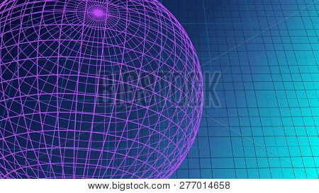 Ultraviolet Empty Spreadsheet And Round Shape Of Globe Graphic Background With Copy Space 3d Illustr