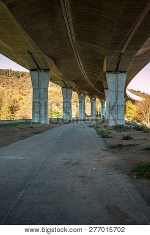 Under A Big Concrete Bridge In Germany