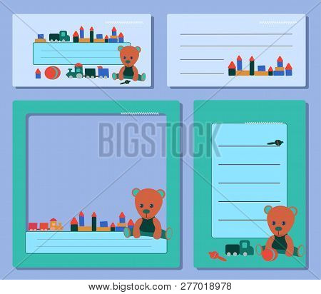 Set Blue Tags, With A Teddy Bear In Green Clothes And Toys For The Boy And Girl. For Social Media Fr