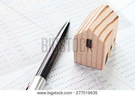 Business, Finance, Savings, Money Management, Property Loan Or Mortgage Concept : Wood House Model O