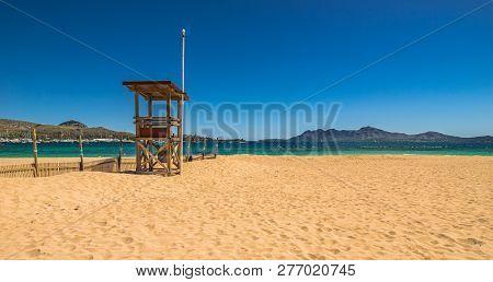 Sand Beach Of Port De Pollenca, Beautiful Seaside Bay Mallorca Island, Spain