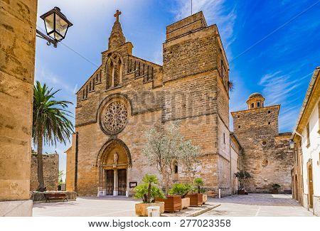 Sant Jaume Church In The Historic City Center Of Alcudia On Majorca Island, Spain