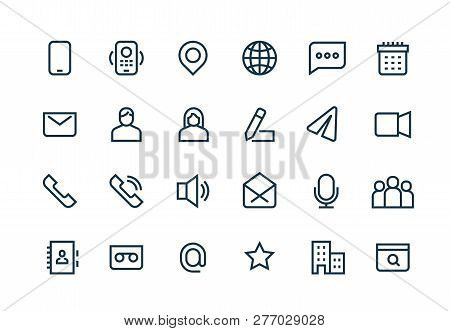 Contact Line Icons. Phone Website Mail, Business Personal Information, Url Address, Home Office Loca