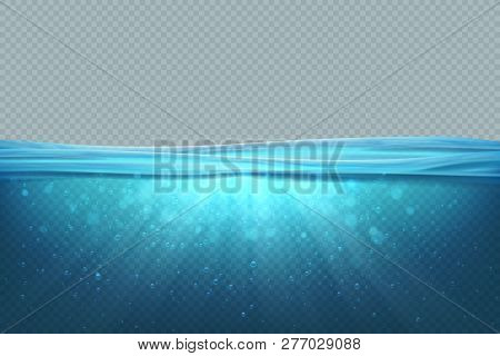Transparent Underwater Background. Realistic Blue Sea Water Surface, 3d Ocean Pool Lake Deep Wave Co