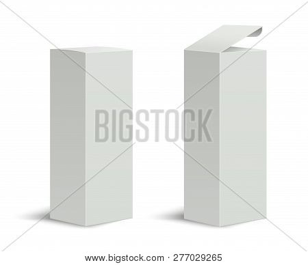 Tall Box. High White Cardboard Box With A Closed And Open Lid. Set Of Realistic Vertical Tall Cardbo