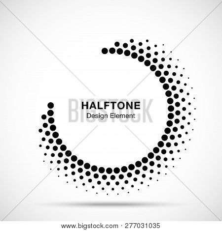 Halftone Circle Frame Abstract Dots Logo Emblem Design Element For Medical, Treatment, Cosmetic. Rou