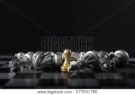 Chess (pawn Or Chessman Wins The Game) On Black Background. Success, Business Strategy, Tactics, Win