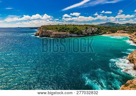 Idyllic View Of Beach Cala Romantica, S Estany D En Mas On Majorca Island Spain