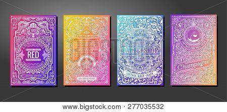 Label On Color Gradient Background. Vintage Logo, Label, Card, Badge, Frame With Liquid Colorful Des