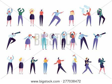 Creative Marketing Agency People Character Set. Businessman Work As Team Isolated. Various Gesture B
