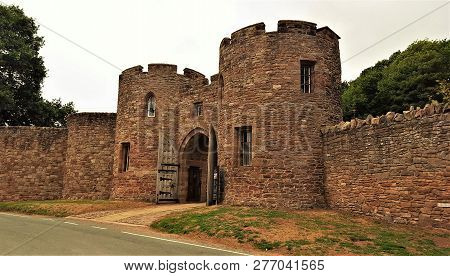 Main Entrance To Beeston Castle Ruins Captured From The Road. Cheshire - Uk