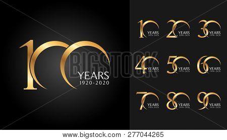 Set Of Anniversary Badges. Golden Anniversary Celebration Emblem Design For Company Profile, Booklet