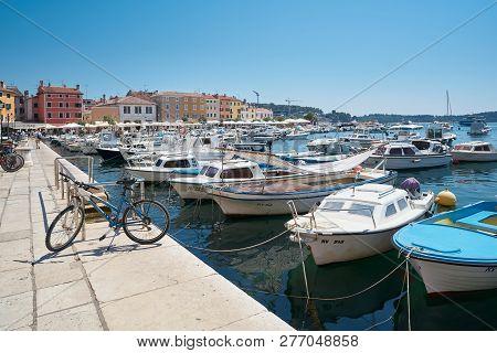 Rovinj, Croatia - July 18, 2018: Boats In The Port Of Rovinj On The Croatian Adriatic Coast. Rovinj