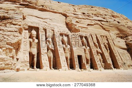 Abu Simbel Temple In Aswan Egypt  On A Summer Day