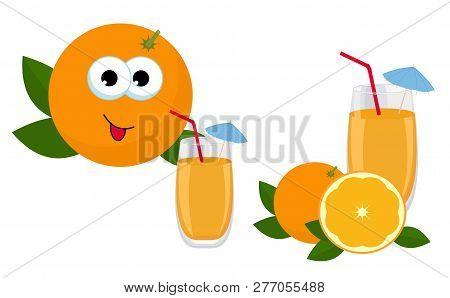Orange Juice. Glass Of Orange Juice With Whole Orange And Slice Of Orange Fruit. Vector Illustration