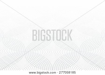 Circle Lines Pattern. White Textured Background. Diminishing Perspective View. Vector Art.