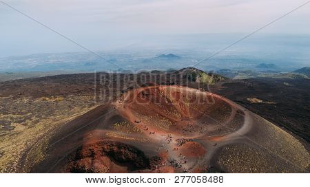 Aerial Panorama Of Collapsed Volcano Cone, Mount Etna, Sicily, Italy.etna  Crater, Scenic Volcanic L