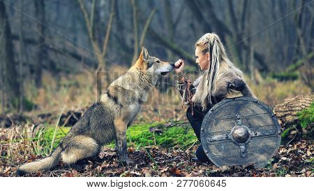 Viking Woman Warrior With Braided Hair Holding Shield Close To Wild Wolf In Forest - Outdoor Warrior