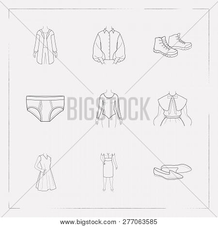 Set Of Clothing Icons Line Style Symbols With Sleeveless Dress, Puritan Collar, Garment And Other Ic