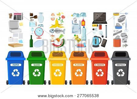 Rubbish Bins For Recycling Different Types Of Waste. Garbage Containers For Trash Sorted By Plastic,