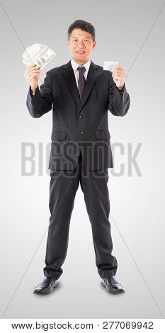 Businessman Holding Money Us Dollar