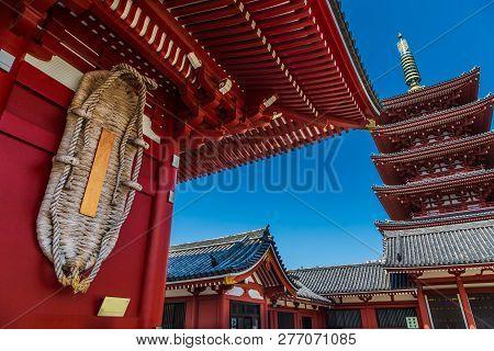 Sensoji Temple And Five Stories Pagoda In Asakusa, Tokyo, Japan.