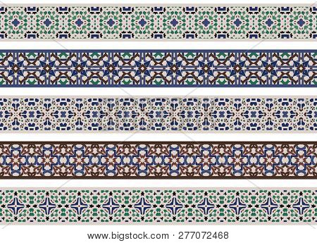 Set Of Five Illustrated Decorative Borders Made Of Abstract Elements In Beige, Green, Turqoise, Blue