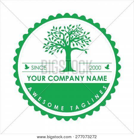 Circle Green Tree With Leaves Logo.logo Tree Green Circle. Herbal Leaf Circle, Ecology, Natural, Org