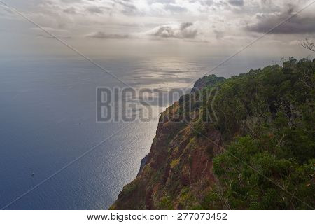 View On The Ocean From Cabo Girao At Sunset. Portuguese Island Of Madeira