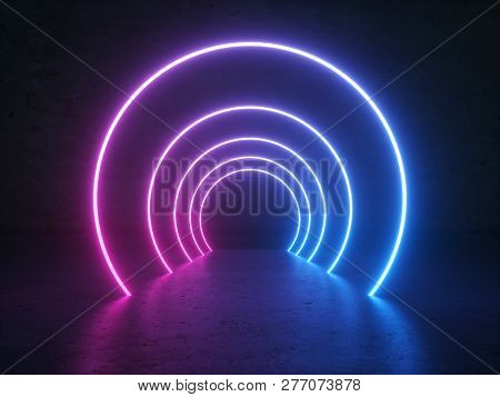 Abstract Gradient Blue Purple Pink Neon Glowing Circle Round Shape Tubes On Reflection Concrete Floo