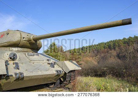 T-34 Soviet Tank From World War Ii. Kapisova Near Dukla Or Svidnik, Slovakia