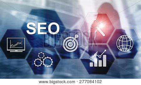 Seo - Search Engine Optimization, Digital Marketing And Internet Technology Concept On Blurred Backg