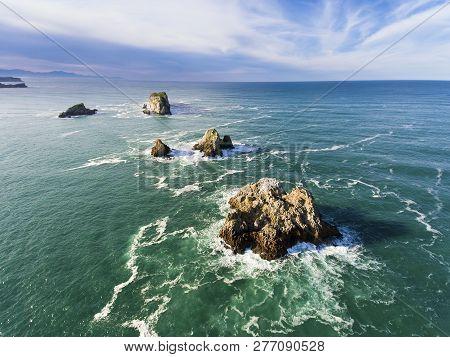 View Of The Pelies Islands, Cuchia, Cantabria, Spain