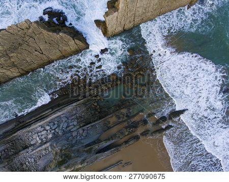 View Of The Arnia Beach, Liencres, Cantabria, Spain
