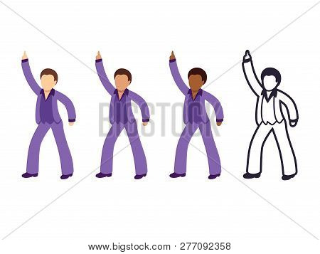 Disco Dancing Man Emoji Set With Different Skin Tone Color And Black And White Line Icon. Isolated V