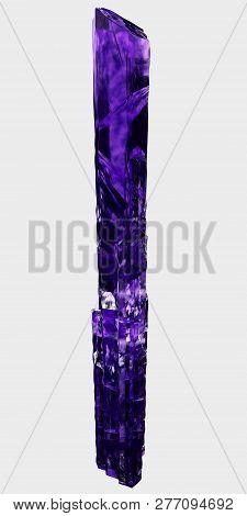 3d Rendering. Purple Crystal Of Elongated Shape.