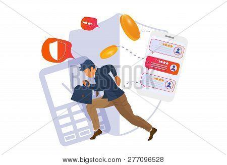 Nfc And Mobile Banking Concept Vector Illustration. Cash App Or Application Online Banking Presentat