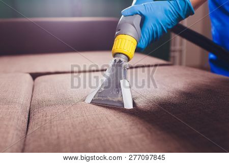 Sofa Chemical Cleaning With Professionally Extraction Method. Upholstered Furniture. Early Spring Cl