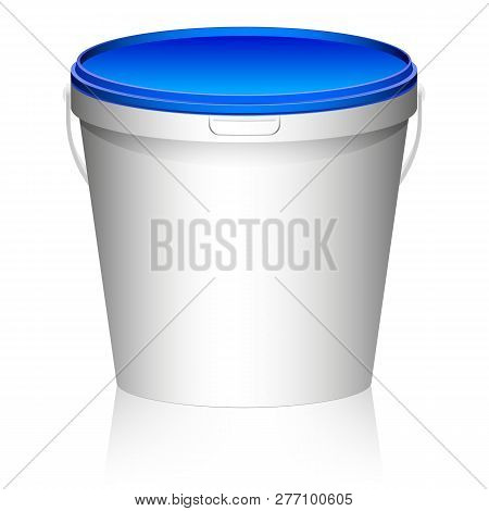 White Plastic Set Bucket With Blue Lid. Product Packaging For Food, Foodstuff Or Paints, Primers. Mo