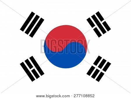 Flag Of Korea South. Brush Painted Flag Of Korea South. Hand Drawn Style Illustration With A Grunge