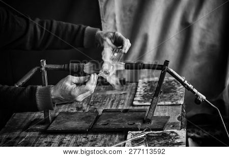 Blowing Glass With Fire In A Traditional Way