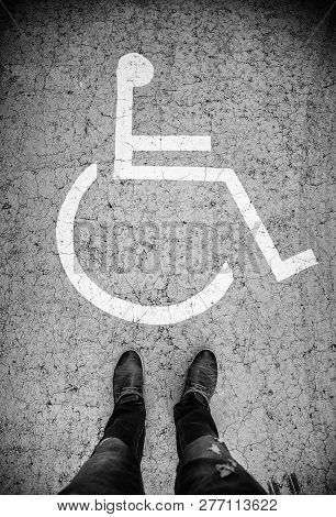 Disabled Sign On The Asphalt, Access Detail For The Disabled
