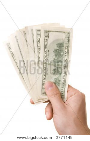 Male Hand And American Dollars Isolated On White