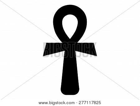 The Ankh Egyptian Cross. Vector Illustration. Antique Black Ankh Egyptian Religious Symbol. The Anci