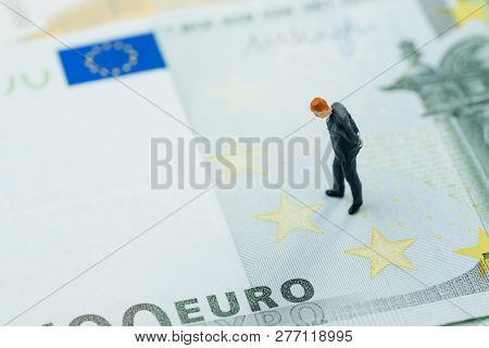Brexit , Europe Economy, Financial, Investment Or Currency Exchange Concept, Miniature Businessman F