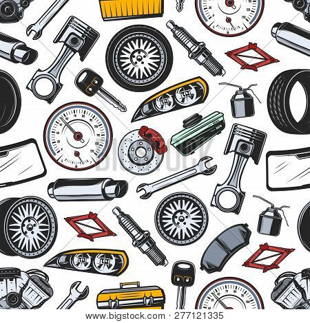 Car Spare Parts Seamless Pattern Background Of Auto Vehicle Details And Accessories. Vector Piston,