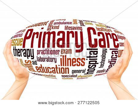 Primary Care Word Cloud Hand Sphere Concept