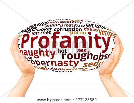 Profanity Word Cloud Hand Sphere Concept