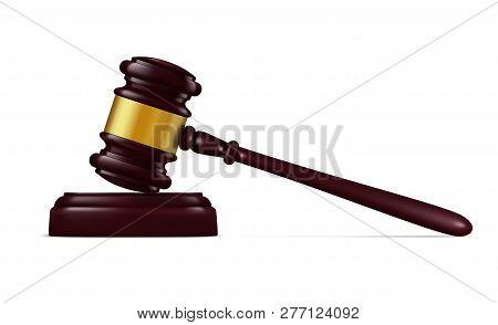 Judge Hammer, Decision Mallet Realistic Vector, Judge Equipment. Vector Court Item, Justice And Verd